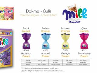 Milk Chocolate Krema Dolgulu Dökme Çikolata Çeşitleri - Milk Chocolate Cream Filled Bulk Chocolate Varieties