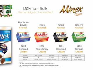 Minex Krema Dolgulu Dökme Çikolata Çeşitleri - Minex Cream Filled Bulk Chocolate Types