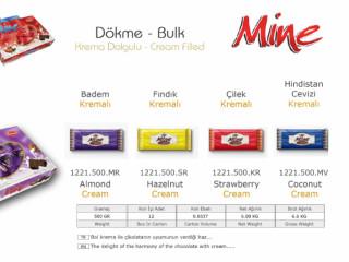 Mine Krema Dolgulu Dökme Çikolata Çeşitleri - Bulk Chocolate Filled With Enamel Cream