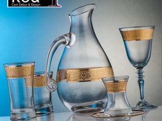 KCD Cam Dekor ve Dizayn 3415A Gülistan Altın - KCD Glass Decor and Design 3415A Gülistan Altın