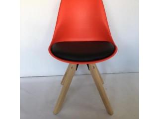 Sandalye Ahşap Ayak Deri Döşeme Ofis klc-500010