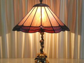 Vitray Abajur Lamba (antik - pirinç ayaklı)