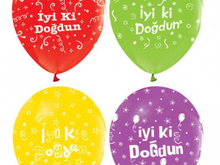 100 Adet 12 İnç İyi ki Doğdun Baskılı Renkli Balonları