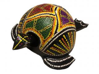 Dekoratif Ahşap Kafası Sallanan Renkli Kaplumbağa Biblo