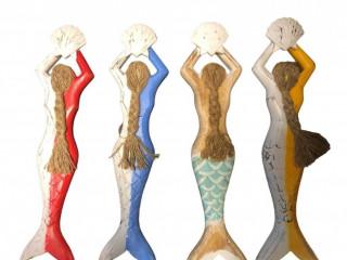 Dekoratif Deniz Kızı Tasarımlı Ahşap Duvar Süsü