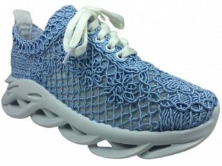 OrtopedikAL1505 Bayan Mavi Örgü Dantelli Günlük Spor Ayakkabı Topuklu Triko  Bağcıklı