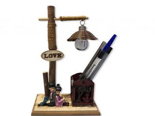 Aşıklar Temalı Kalemlik Masa Lambası Biblo
