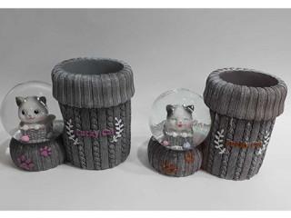 Kedili Cam Kar Küresi Kalemlik