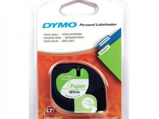 DYMO Letratag Şerit Beyaz Kağıt Etiket 12mm x 4m - 91200