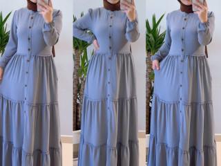 Ayrobin kumaş uzun elbise