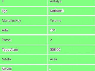 ANTALYA KORKUTELİ YELEMEDE SATILIK 558 M2 PROJELİ ARSA